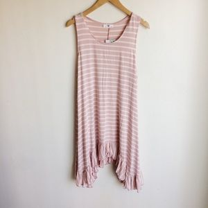 Amelia James Pink Striped Ruffled Dress Size 2XL